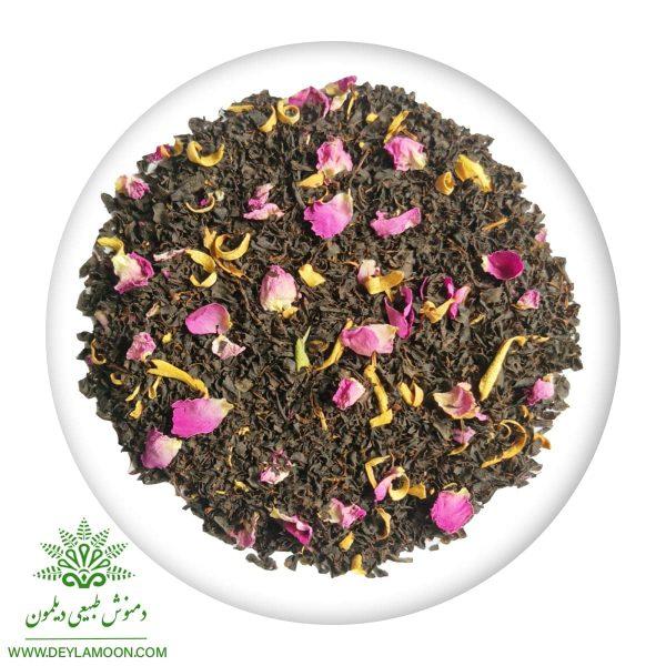 دمنوش چای سیاه وبهار نارنج وگل محمدی